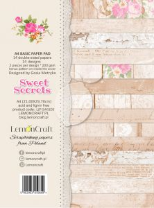 papier scrapbook LemonCraft - sweet secrets - basic A4 [bloczek/pad]
