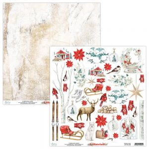 papier scrapbook Mintay Papers - winterland - arkusz z elementami