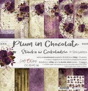 "papier scrapbook Craft o'clock - plum in chocolate [zestaw 12"" x 12""]"