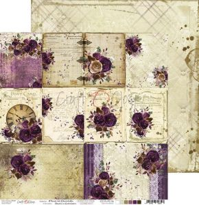 arkusz z ozdobnymi kartami - papier scrapbook Craft o'clock - plum in chocolate