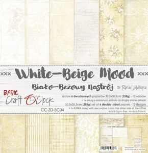 "papier scrapbook Craft o'clock - white - beige mood [zestaw 12"" x 12""]"