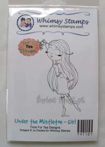 stempel gumowy Time for tea - under the misteltoe (girl)
