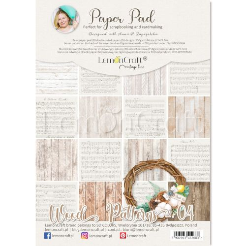 papier scrapbook LemonCraft - wood patterns 04 [bloczek/pad]