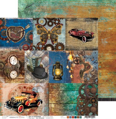 arkusz z ozdobnymi kartami - papier scrapbook Craft o'clock - age of technology